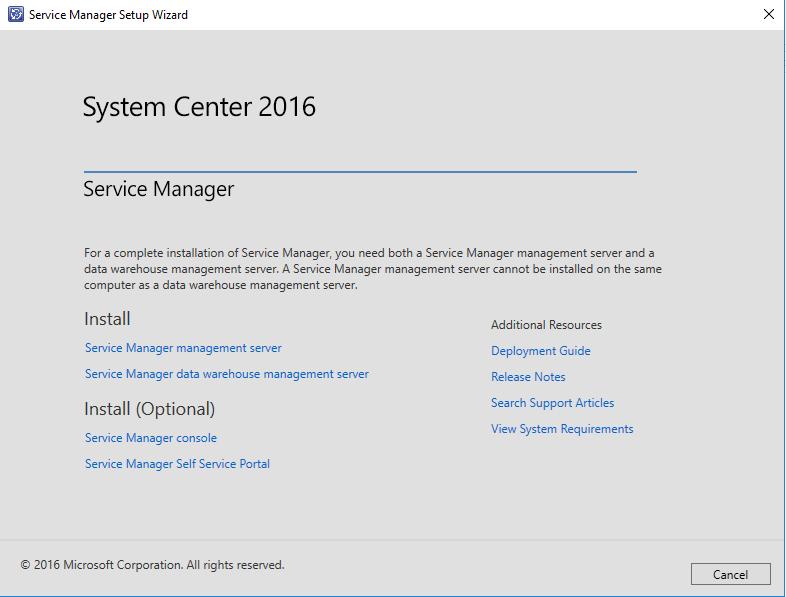 Service Manager 2016 Install