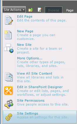 Go to Sharepoint Site settings