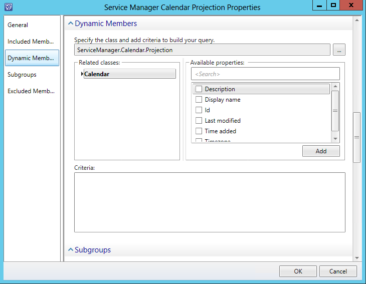 Service Manager Calendar Projection Items Group