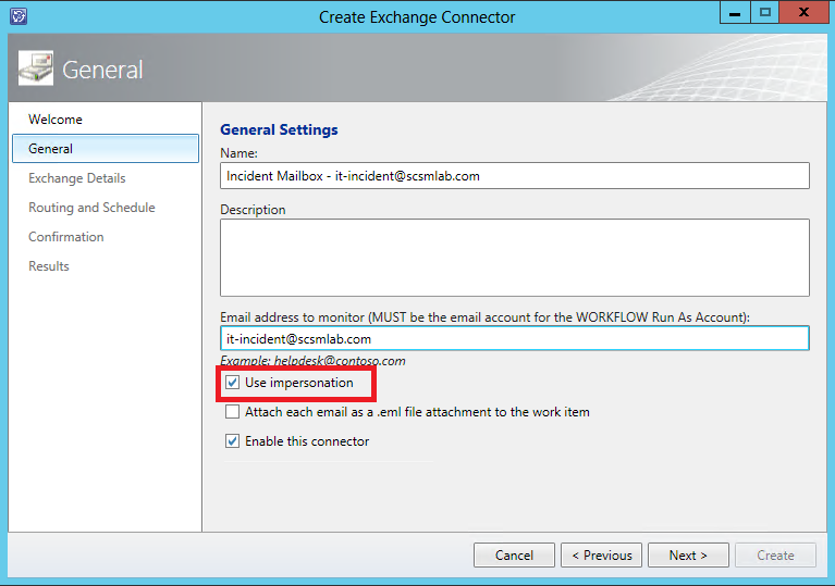Exchange Connector Wizard General Settings